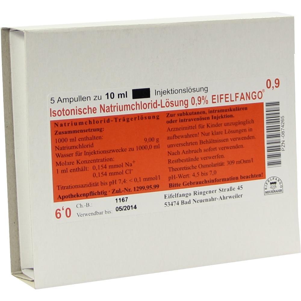 Isotonische NaCl Lösung 0,9% Eifelfango Inj.-Lsg. 5X10 ml