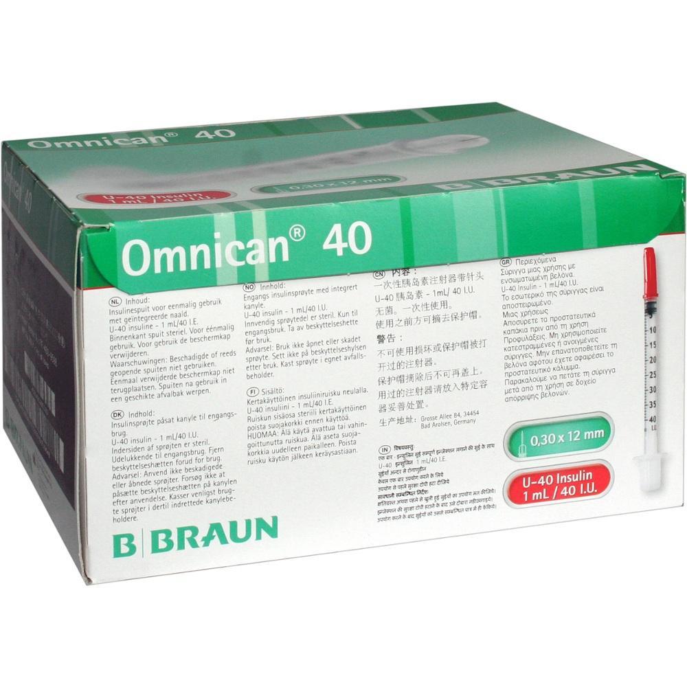 Omnican Insulinspr.1 ml U40 m.Kan.0,30x12 mm 100 St