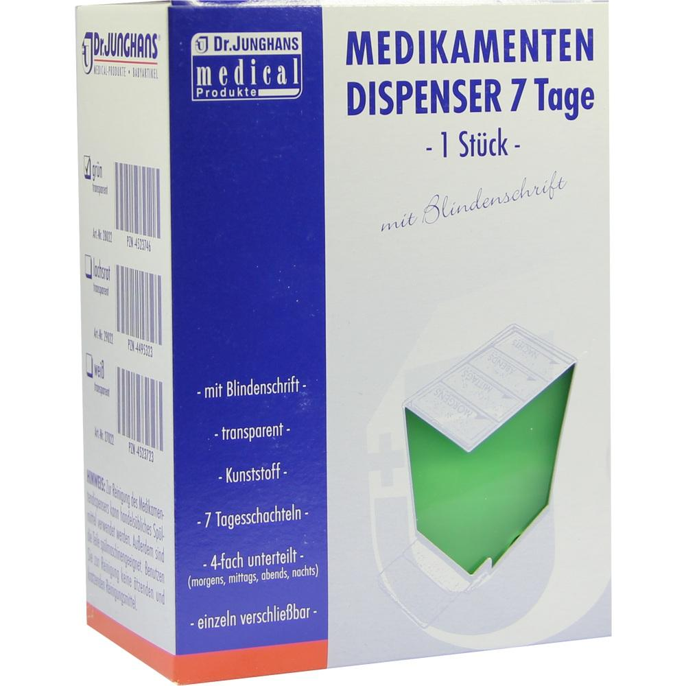 Medikamentendispenser 7 Tage grün trans.Blind. 1 St