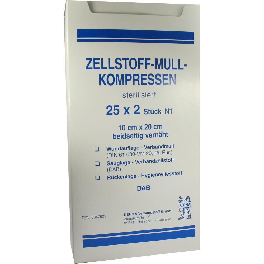 Zellstoff Mullkompressen 10x20 cm steril 25X2 St