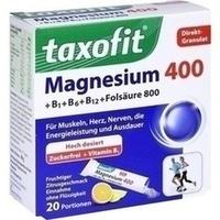 Taxofit Magnesium 400+ B1 + B6 + B12 + Folsäure 800 Granulat  20 Stück