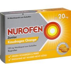 Abbildung von Nurofen Junior Kaudragee Orange 100mg  Weichkapseln