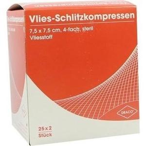 SCHLITZKOMPRESSEN Vlies 7,5x7,5 cm steril 4fach