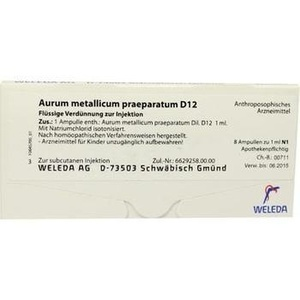 AURUM METALLICUM PRAEPARATUM D 12 Ampullen