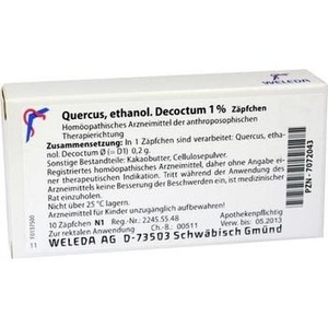 QUERCUS ETHANOL.Decoctum 1% Suppositorien