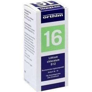 BIOCHEMIE Globuli 16 Lithium chloratum D 12
