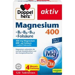 DOPPELHERZ Magnesium 400+B1+B6+B12+Folsäure Tabl.
