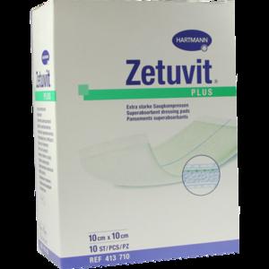 ZETUVIT Plus extrastarke Saugkompr.steril 10x10 cm