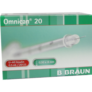 OMNICAN Insulinspr.0,5 ml U40 m.Kan.0,30x8 mm