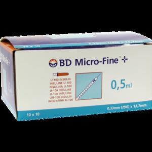 BD MICRO-FINE+ Insulinspr.0,5 ml U100 12,7 mm