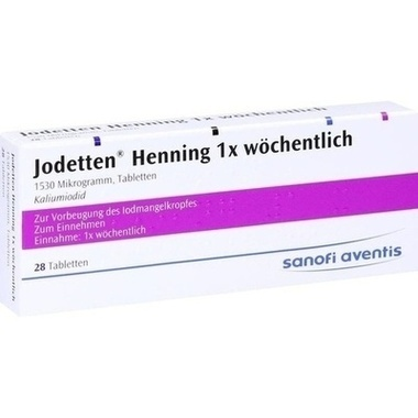 Jodetten® Henning 1x wöchentlich, 1530 Mikrogramm, Tabletten