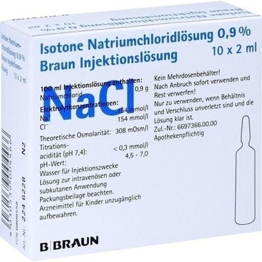 Isotone Natriumchloridlösung 0,9 % Braun Injektionslösung, Glas-Amp. 2 ml