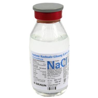 Isotone Kochsalzlösung 0,9% Braun Infusionslösung Glasflasche 100 ml