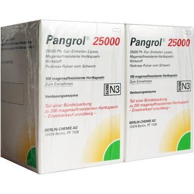 Pangrol® 25 000, 25 000 Ph.-Eur.-Einheiten Lipase Magensaftresistente Hartkapseln