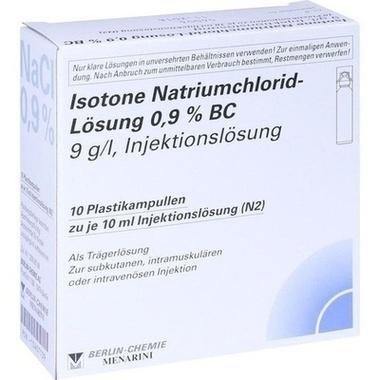 Isotone Natriumchlorid-Lösung 0,9 % BC 9g/l, Injektionslösung, Plastik-Ampullen 10 ml
