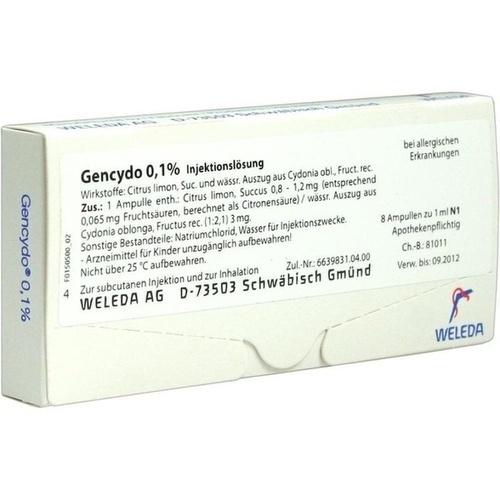 GENCYDO 0,1% Injektionslösung