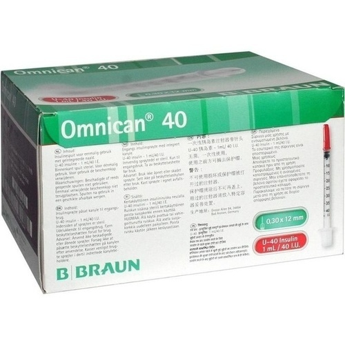 OMNICAN Insulinspr. 1 ml U40 m. Kan. 0,30x12 mm