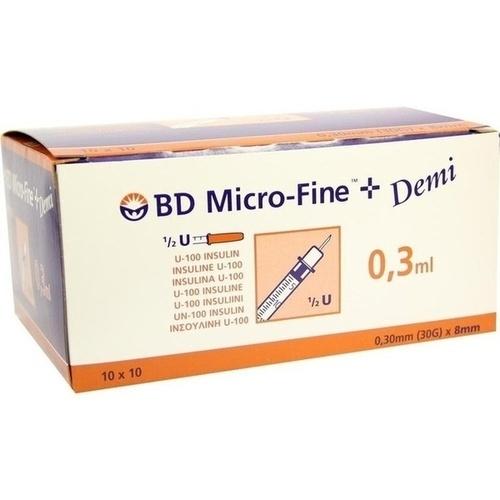 BD MICRO-FINE+ Insulinspr. 0,3 ml U100 0,3x8 mm