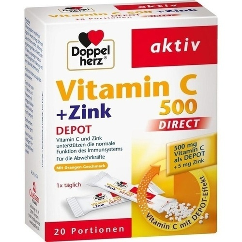DOPPELHERZ Vitamin C 500+Zink Depot DIRECT Pellets