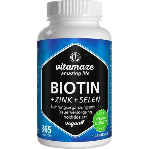 BIOTIN 10 mg hochdosiert+Zink+Selen Tabletten 365 St.