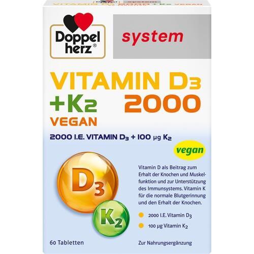DOPPELHERZ Vitamin D3 2000+K2 system Tabletten