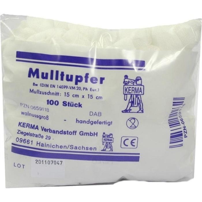 MULLTUPFER 15x15 cm walnussgroß unsteril