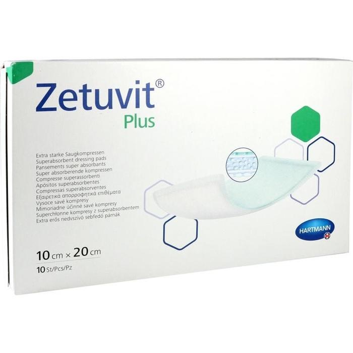 ZETUVIT Plus extrastarke Saugkompr.steril 10x20 cm