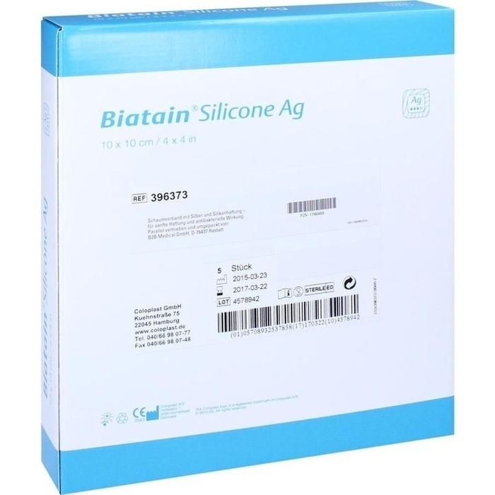 BIATAIN Silicone Ag Schaumverband 10x10 cm